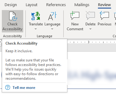 Check Accessibility button at the top of the Word tool bar after the Review tab is selected.