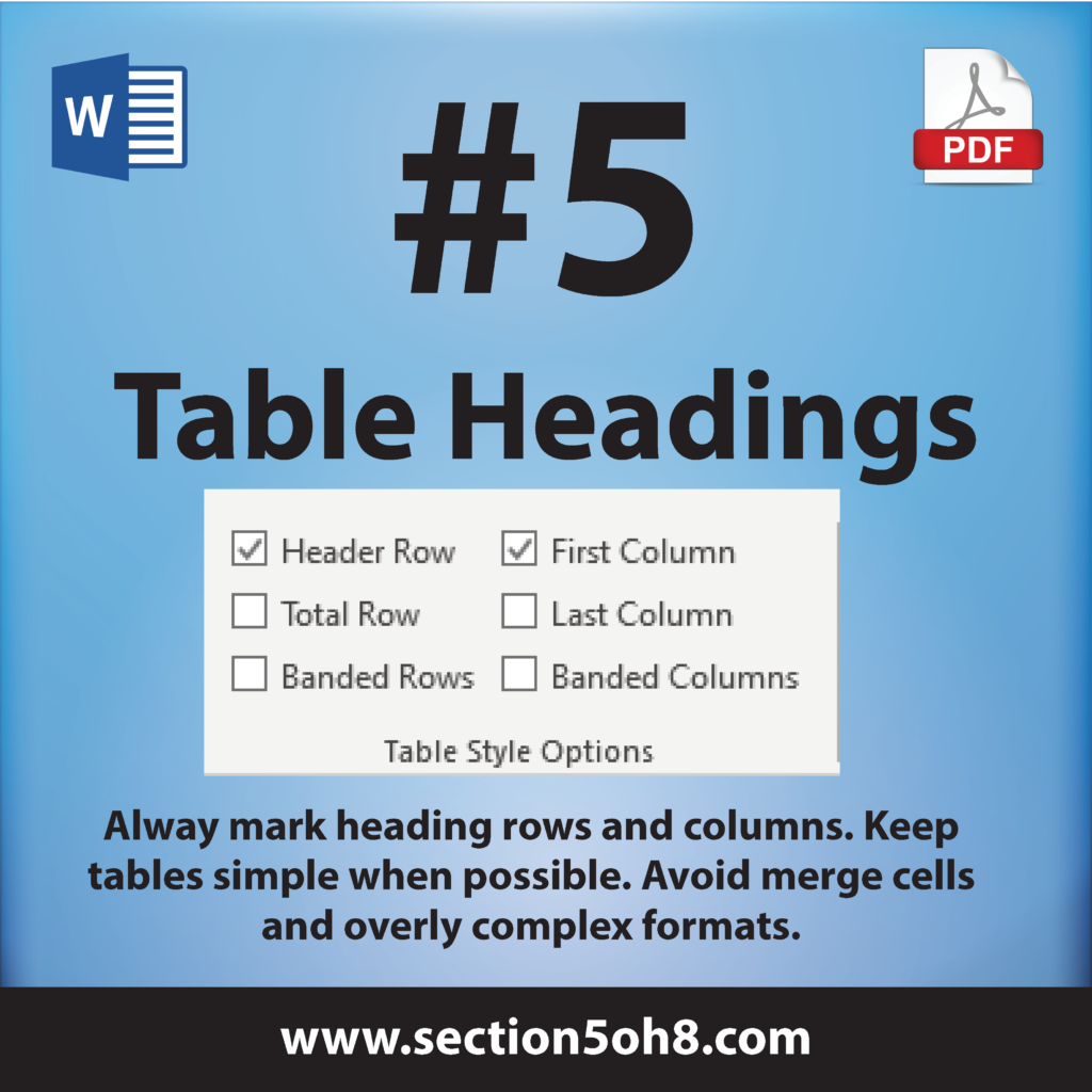 Number 5. Table Headings. Always mark heading rows and columns. Keep tables simple when possible. Avoid merge cells and overly complex formats.