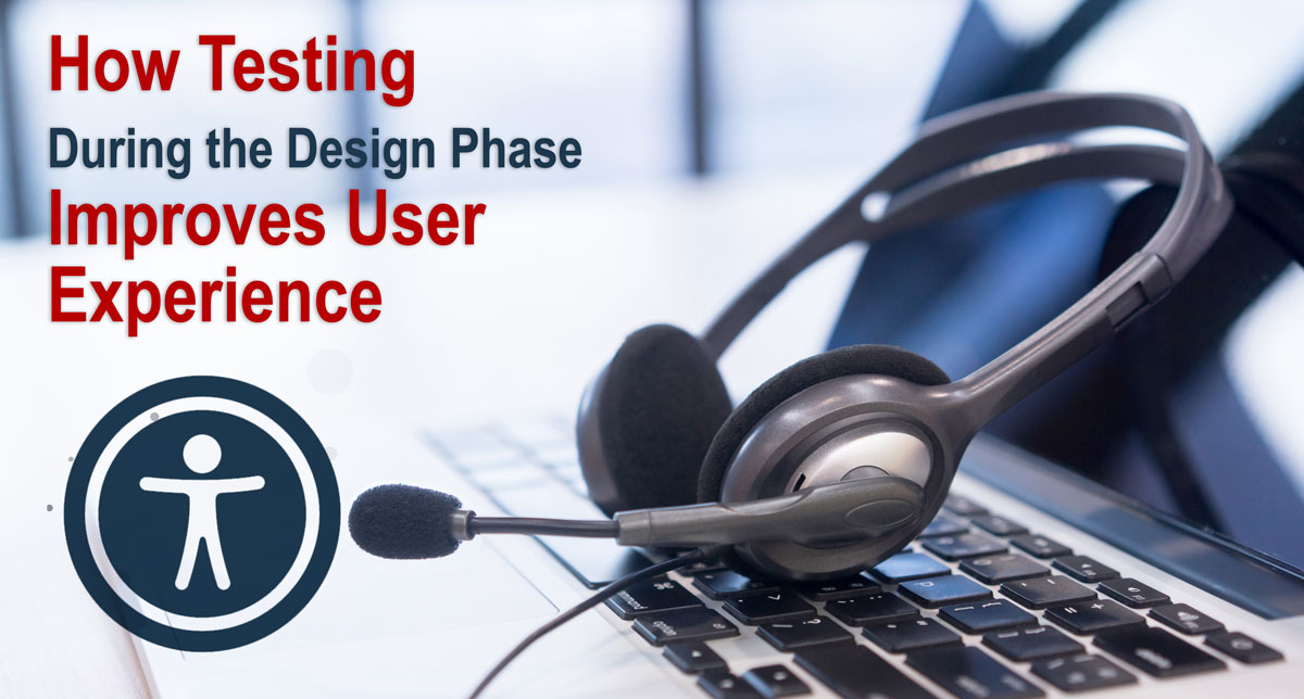 Audio headset sitting on open laptop with the article title.: How testing during the design phase improves user experience