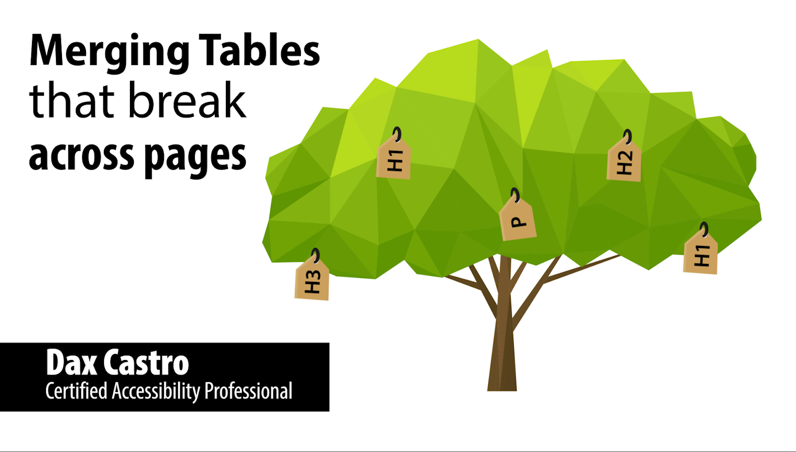 Merging tables that break across pages title slide showing author Dax Castro. Certified Accessibility Professional