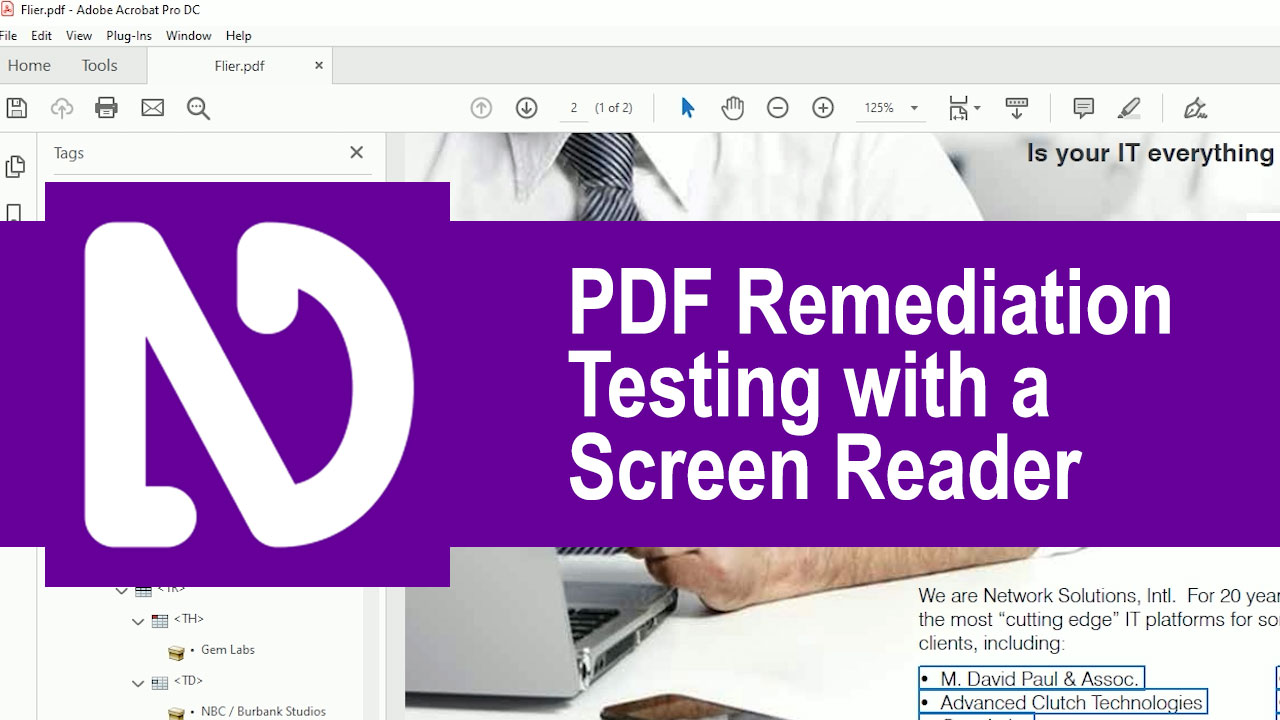 PDF remediation. Testing with a Screen Reader
